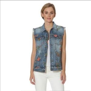 Driftwood vest denim with floral embroidery sz M